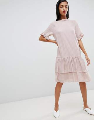 Selected high neck stripe dress