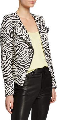 Nour Hammour Celine Zebra Print Leather Cardi-Style Jacket