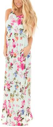 Assivia Women's Floral Print Sleeveless Pockets Tunic Long Maxi Casual Dress (XL, )