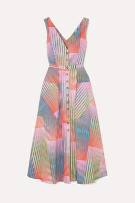 Saloni Zoey Cutout Printed Cotton-poplin Dress - Pink