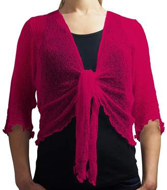 L'Affair Ladies Crochet Glitter and Plain Stretch Lace Fish Net Bali Tie at Waist Bolero Shrug Open Cardigan