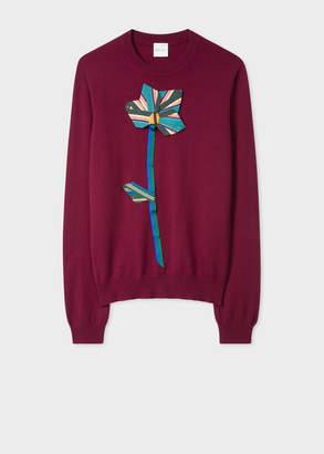Paul Smith Women's Burgundy Floral Applique Cashmere Sweater