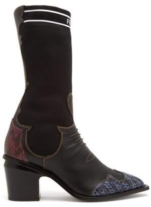 Fendi Contrast Panel Leather Boots - Womens - Black Multi