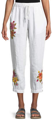 Johnny Was Vella Embroidered Linen Jogger Pants, Plus Size