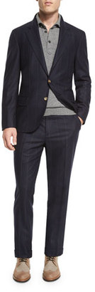 Brunello Cucinelli Wide-Pinstripe Wool-Blend Two-Piece Suit, Navy $5,395 thestylecure.com