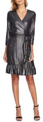 CeCe Foil Knit Ruffle Dress