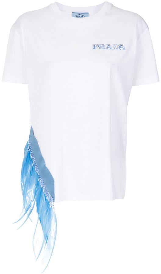 Prada trimmed and embellished T-shirt