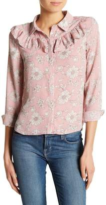 Sweet Rain Apparel Ruffle Front Floral Button Shirt