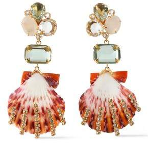 Bounkit Gold-tone, Crystal And Seashell Earrings