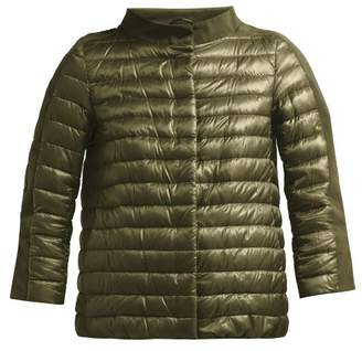 Herno Quilted Down Filled Boat Neck Jacket - Womens - Green