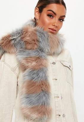 Missguided Grey Faux Fur Striped Scarf