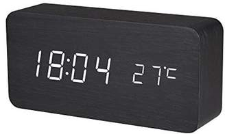 BALDR Wooden Digital Alarm Clock, Displays Time and Temperature, Voice Control, Black, White Light