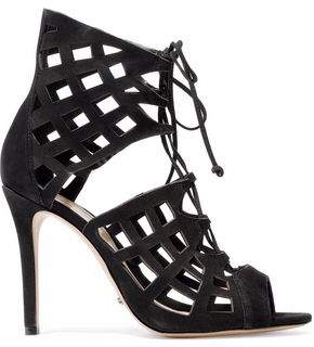 Schutz Blake Lace-Up Laser-Cut Suede Sandals