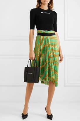 Balenciaga Asymmetric Pleated Printed Crepe Midi Skirt - Green