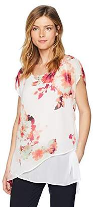 Calvin Klein Women's Cap Sleeve Asymmetrical Top in Floral Print