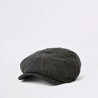 River Island Grey herringbone baker boy cap