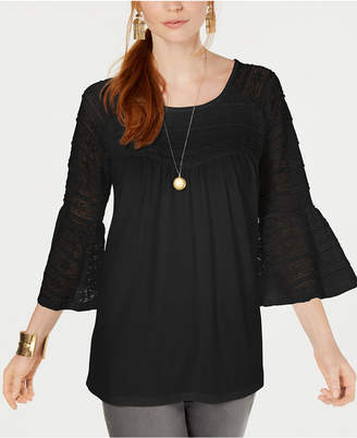 Style&Co. Style & Co Lace Bell-Sleeve Scoop-Neck Top