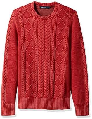 Nautica Men's Long Sleeve Cable Shawl Collar Sweater