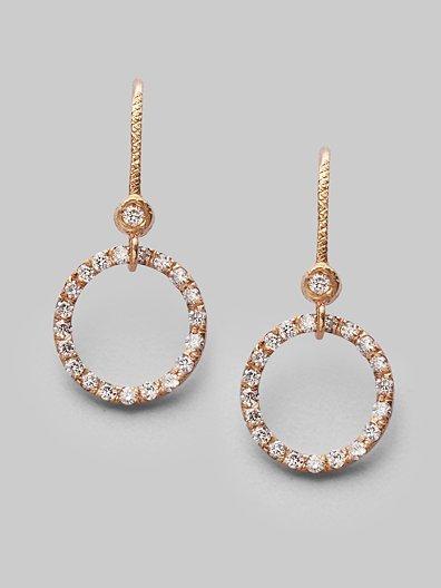 Dominique Cohen Diamond & 18K Rose Gold Circle Earrings