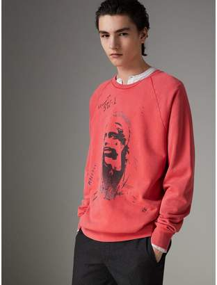Burberry Portrait Print Cotton Sweatshirt