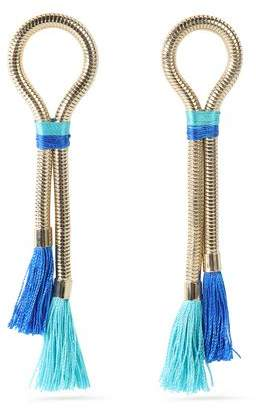 Tasseled Gold-Tone And Cord Earrings