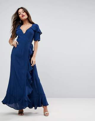 Asos Design Short Sleeve Ruffle Wrap Maxi Dress
