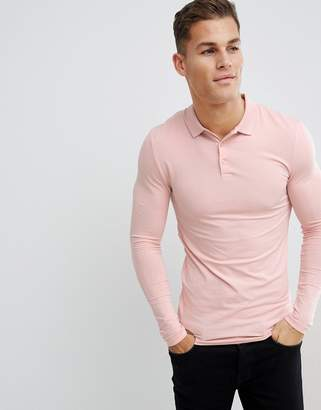 Asos Design DESIGN muscle fit long sleeve jersey polo in pink