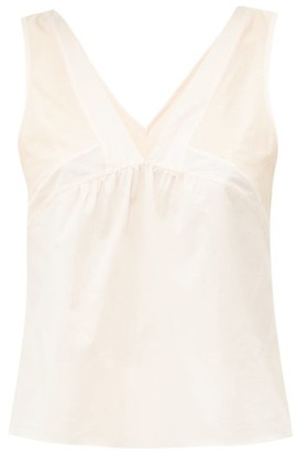 Rossell England - Panelled Cotton Poplin And Jersey Cami - Womens - Nude