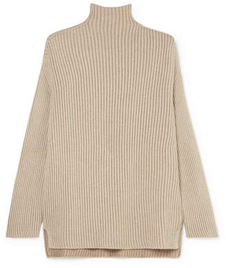 Agnona Metallic Cashmere-blend Turtleneck Sweater - Cream