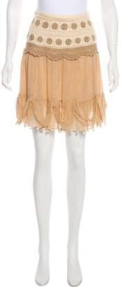 Blumarine Silk Crochet-Accented Mini Dress