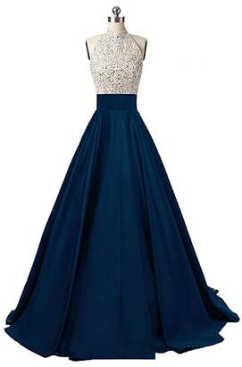 JINGDRESS Halter Sparkly Beaded A Line Prom Formal Dresses Long Satin Open Back Evening Party Gown
