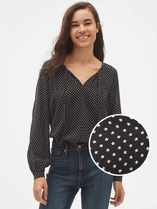 Gap Long Sleeve Print Split-Neck Blouse