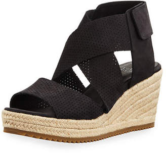 Eileen Fisher Willow Perforated Nubuck Espadrille Sandals