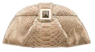 Kara Ross Snakeskin Leather Clutch Gold Snakeskin Leather Clutch