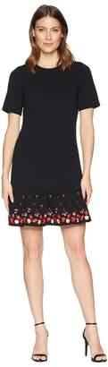 Calvin Klein Embroidered Flounce Hem Short Sleeve Dress CD8C11PT Women's Dress