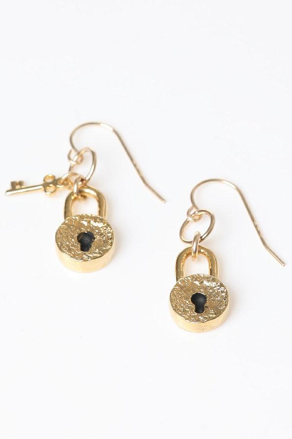 Jessica Elliot Vermeil Padlock Mini Key Earrings
