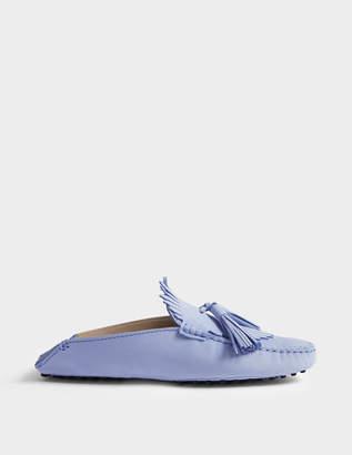 Tod's Gommino Tassle Mule Shoes in Azzurro Suede