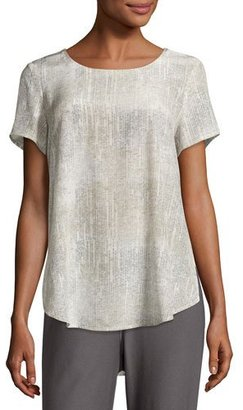Eileen Fisher Metaphor Printed Silk Short-Sleeve Blouse, Almond $110 thestylecure.com