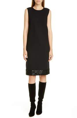 Lafayette 148 New York Morganna Sequin Hem Wool Shift Dress