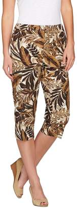 Susan Graver Printed Stretch Cotton Zip Front Pedal Pushers
