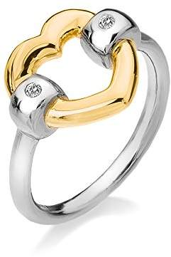 Hot Diamonds Just Add Love Yellow Gold Plated Accents Bonded Heart Ring - Size M