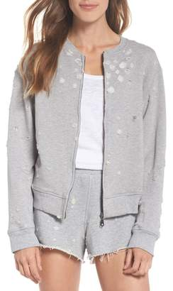 David Lerner Distressed Zip Sweatshirt