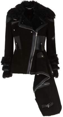Alexander McQueen Shearling Peplum Biker Jacket