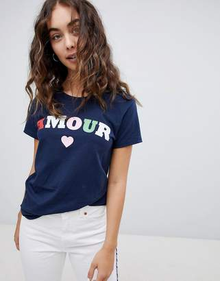Daisy Street Relaxed T-Shirt With Amour Print