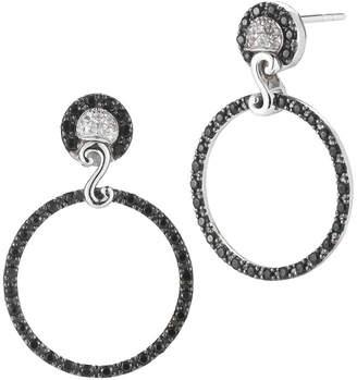 Alor Delatori By Silver Rhodium Black Spinel & Crystal Drop Earrings