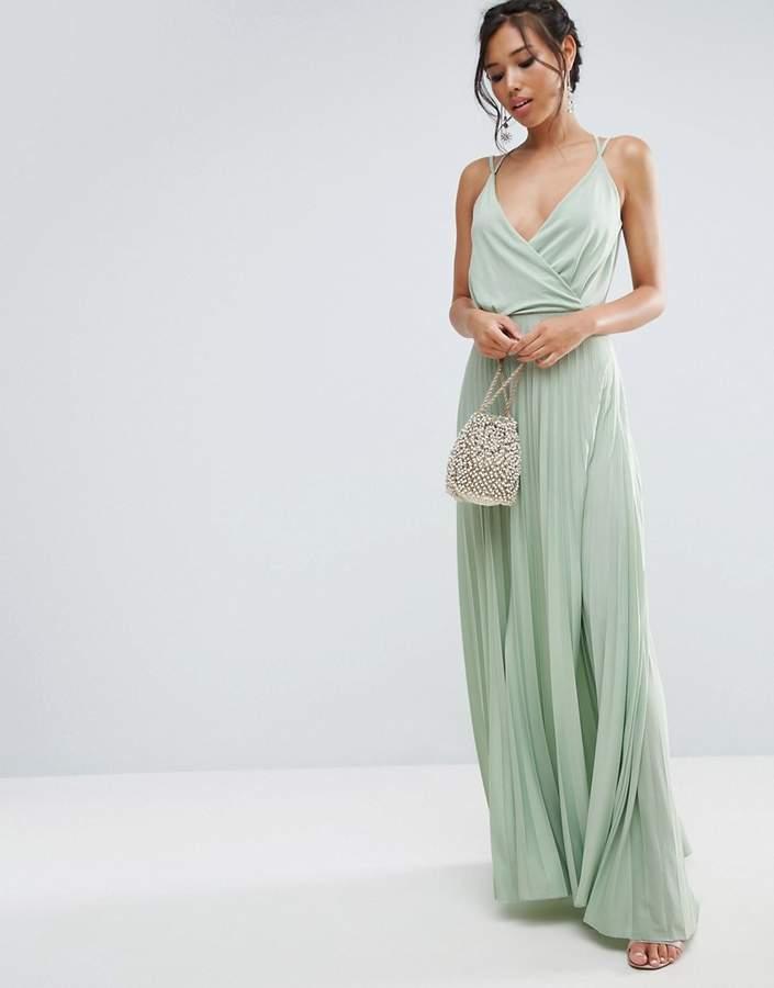 AsosASOS Blouson Wrap Pleated Maxi Dress