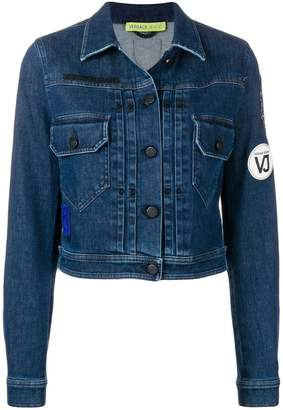 Versace logo patch cropped jacket