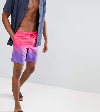 Asos DESIGN TALL Swim Shorts In Purple & Pink Ombre In Mid Length