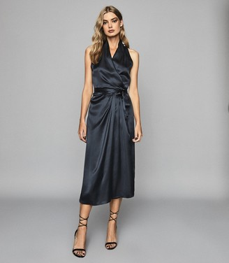 Reiss MOA Silk Blend Wrap Maxi Dress Navy