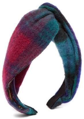 Benoit Missolin Rebecca Knotted Tartan Wool Headband - Womens - Multi